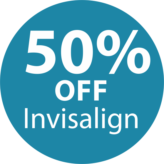 Icon showing Invisalign Treatment prices for half price.