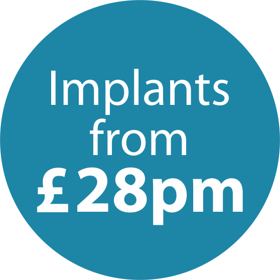 Icon for Dental Implants prices starting at £28 per month.